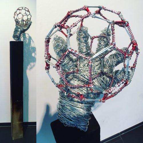 "Drahtskulptur ""Catch the ball"" (Verkauft Benefiz 2017)"